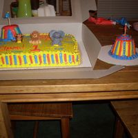 Circus Cake Order W/smash Cake... I made the animals like 2 days in advance. My absolute favorite is the Elephant. I just couldn't get the monkey and the lion the way I...