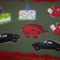 My Husband's Birthday Cookies  Cookies are some of my husband's favorite things. His 1967 Ford Mustang. It is a very dark green that looks black. Had to mix a lot to...