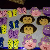 Dora And Friends Cookies sugar cookies I made to go along with the Dora cake and cupcakes I made for my granddaughter's 4th Birthday