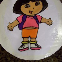 Dora   Dora done in color flow. I thought it would make a cleaner looking picture for the Birthday cake for my granddaughter