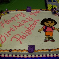 Dora The Explorer Cake  I made this cake for my granddaughter who loves Dora. Cake is done with bc icing and Dora and her friends are done with color flow. This...