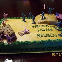 Welcome Home Cake   My nephew had just gotten home from Iraq and I wanted to make him a welcome home cake. Thanks for looking