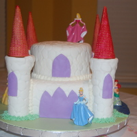 Disney Princess Castle Cake I made this cake for my daughter's princess birthday party. The bottom tier is an 8-inch square and the top tier is a 6-inch round....
