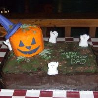 "Dad's Halloween Birthday Cake Pumpkin Patch Cake - This full sheet double layer cake (20"" x 28"") was 1/2 chocolate, 1/2 golden yellow cake. The layers were..."