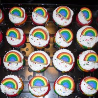 Mckenna's Birthday Cupcakes Rainbow cupcakes with rainbow cookie toppers