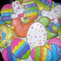 Happy Easter Easter cookie platter; colored eggs were inspired by Lila Loa's colored eggs. TFL
