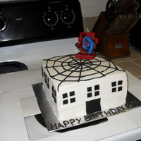 Spiderman Spiderman cake. I really wanted to do red fondant lettering on the top but I was having so much trouble getting the cutouts out of the...