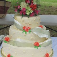 Wedding Cake With Real Ribbon