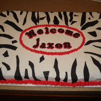 Zebra Baby Shower Sheet Cake Sheet cake for a baby shower. Jaxon has a black and red zebra themed nursery so the mother wanted a cake to match. Buttercream with fondant...