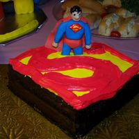 Superman Cake This cake is pretty self explanatory standard construction, I used a disposable 9 X 13 pan and cut the logo shape out. I used chocolate...