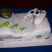 Xbox 360/the Halo Cake I made this for my friend Jim who really likes Halo. It was for his 23rd Birthday. He is heavily into gaming, and so this was a winner....