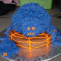 "Spooky Spider Mommy The mommy spider is made from the large sports ball pan and the small sports ball pan. The spider is sitting on a 10"" round cake. All..."