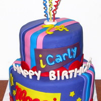 "Icarly Top tier 6"" round Chocolate, bottom tier 8"" round vanilla, vanilla buttercream and fondant. The mom sent me a design and a few..."