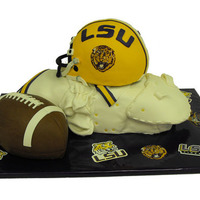Lsu Football sculpted football, helmet, and shoulder pad cake