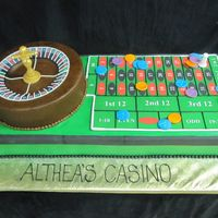 Roulette Wheel The cake is covered in buttercream. The numbers on the wheel and the board are edible images. The chips and the spinner are made out of...