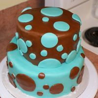 Blue/brown With Polka Dots Two tier cake. Old Fashioned Butter cake with IndyDebi's BC (it was super delicious). Covered in fondant. I learned a lot from this...