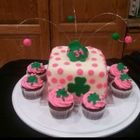 Irish Customer ordered an Irish theme cake (with pink, white and green accents)