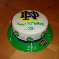 Notre Dame Birthday Cake  Chocolate cake with white chocolate cream cheese filling, frosted with champagne buttercream. Fondant cover abd details. Football is...