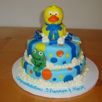 Splish Splash Baby Shower Cake  Yellow WASC cake with champagne buttercream. Decorated with MMF and modeling chocolate. Bubbles and frog are modeling chocolate, rubber...