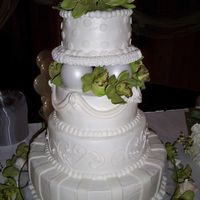 Kellys_Cake.jpg 4 Tier pound cake with buttercream icing and fondant. This was the first time I had used fondant.