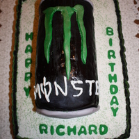 Monster Energy Cake Sheet cake with Monster Energy can made out of Rice Krispies and covered in fondant. Not my favorite cake that I have ever done but it will...