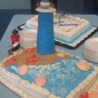 Light House On Beach light house made with crispie treats and fondant :) shells in gumpaste and fondant, everything else is buttercream and the sand is brown...