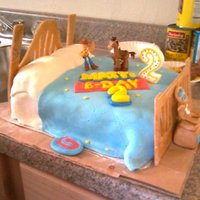 Toy Story Cake toy story cake I made for my nephew, all fondant, except for 50/50 gumpaste headboards, but I should've used whole gumpaste b/c it was...