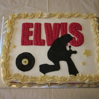"Elvis Presley Birthday Cake Elvis silhouette with famous red light ""Elvis"" sign behind him. Elvis was cut out of fondant, everything else was buttercream...."