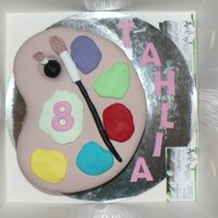 Painters Palette Birthday Cake My friends daughter was having a craft party and wanted a Painters Palette.