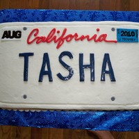 Calkifornia License Plate   A cake for a girl moving to California from Virginia