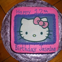 Hello Kitty   8 inch square, buttercream, edible print hello kitty on fondant