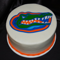 Gator Grooms Cake Buttercream with fondant alligator to match the bride's colors and the grooms favorite team...Florida Gators.