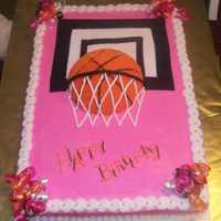 Girly Basketball Sheet cake for my niece who is a tomboy all the way. Design inspired my lilmansmum - thank you.