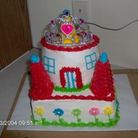 Princess Castle Cake This cake was for my daughter's 3rd birthday. It didn't turn out like I had wanted it to. I was in a hurry so I used frosting...