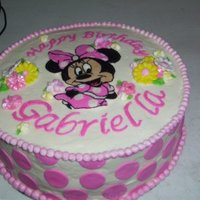Gabby's Birthday Iced in BC dots in fondant Minnie is a fbct,