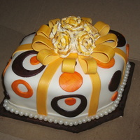 Kerre's B Day A small table cake for an intimate dinner party all fondant detail, edible pearls