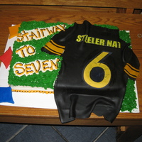 Steeler Opening Game Cake I made this for our Steeler Nation group in honor of the opening to the NFL season. Had a good time making my first shirt out of fondant....