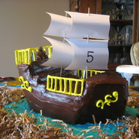 Pirate Ship my 5 year olds birthday cake for his pirate party.