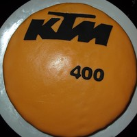 Ktm KTM cake for my husband, marble cake chocolate ganache with chocolate chips and mmf.