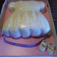 Christening Dress Cake i used edible sugar diamonds here, and the small ones worked out great. the small ones were shiny, but the medium ones didn't have...