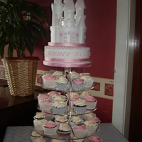 Castle Christening Cake Castle cake tower of cupcakes
