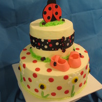 "Lady Bug Baby Shower Cake  This was for a ""ladybug"" themed shower. Buttercream icing with fondant accents, booties are made of fondant, ribbon around the..."