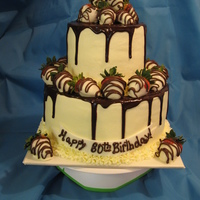 Chocolate Covered Strawberries & Cake   was given a picture to recreate for an 80th birthday celebration!!
