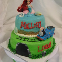 Little Mermaid & Thomas  Birthday party for a brother & sister combined. So had to incorporate Little Mermaid & Thomas. They really liked it. Buttercream...