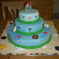Little Mermaid Birthday Cake This is an almond cake with strawberry filling covered in MMF with sugar shells. Thanks for looking!!