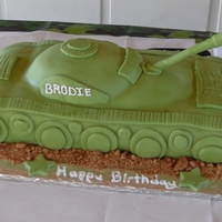 Tank  Fourteen pounds of cake, icing, and fondant! If you're going to make a tank, you don't need to make a small, wimpy one, right? My...