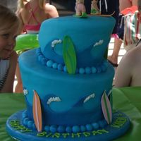 Topsy-Turvy Surfer Cake This is the surfer-themed cake I did for my daughter's third birthday. It was a combined party with her friend, and when he found out...
