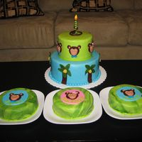 Monkey Cake For Triplets This is a first birthday cake for my friend's triplets. Bottom was chocolate mint/mint filling/ganache, top was pistachio with white...
