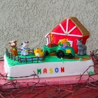 Farm Birthday This was a cake I did for my son's first birthday, it was nice, because the barn was his own cake.