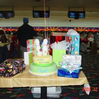 Bowling Cake  My son wanted a bowling party for his 6th birthday. He loved this cake. The cake is iced with buttercream and covered in fondant. The...